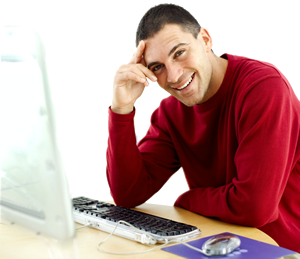 smiling-red-sweater-on-computer